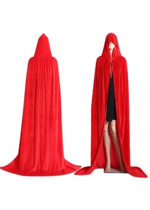 Red Kids Hooded Velvet Cloak Cape Wizard Costume
