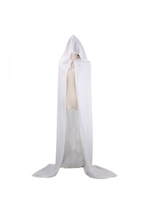 White Adult Hooded Cloak Cape Wizard Costume