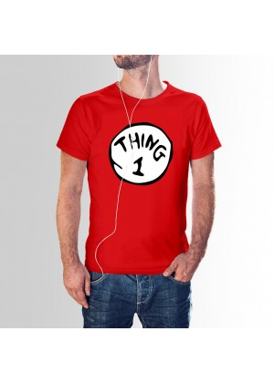Couples Mens Dr Seuss Cat In The Hat Thing One 1 And Thing Two 2 Twins Top T-Shirt Book Week Costume