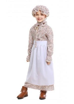 Girls Kids Poor Victorian Maid Costume Retro Nanny Book Week Olden Days