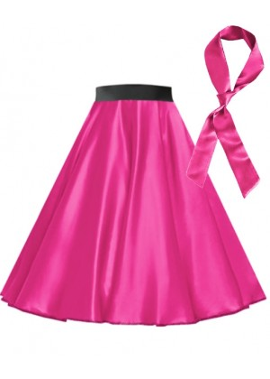 Hot Pink Satin 1950's  50s skirt