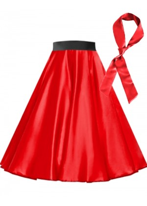 Red Satin 1950's 50s skirt