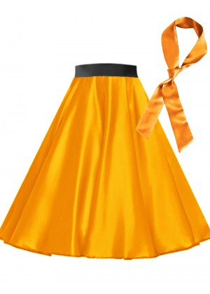 Orange Satin 1950's 50s skirt