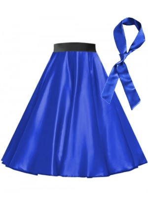 Royal Blue Satin 1950's skirt