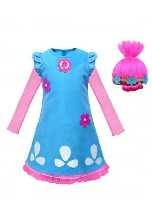 Child Poppy Trolls 2 Costume with wig tt3129