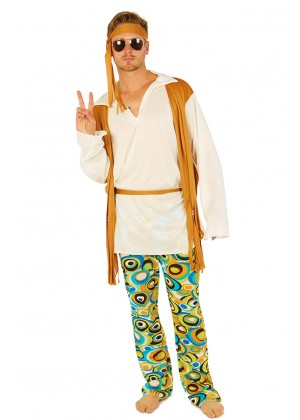 60s, 70s Costumes Australia - Mens Hippie 60's 70's Peace Groovy Halloween Fancy Dress Adult Costume