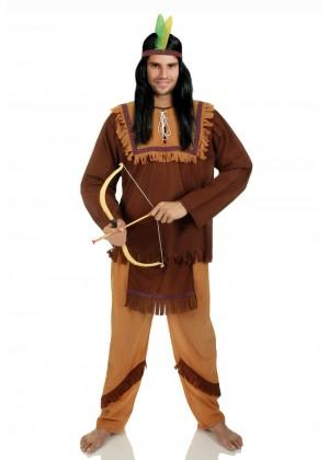 Mens Noble Warrior Native American Indian Halloween Fancy Dress Adult Costume