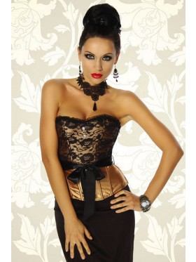 Satin and lace corset, g string