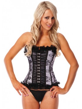 Luxury Boned lace up corset, G string