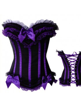 Purple Boned lace up corset with g-string