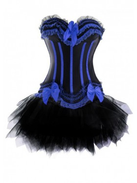 Black Burlesque Boned Corset