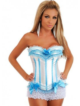 White with Blue Lace Boned Corset