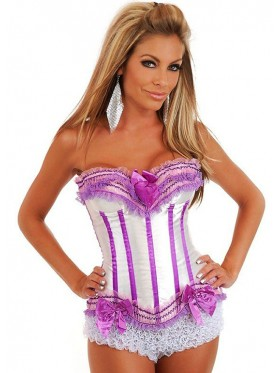 White with Purple Lace Boned Corset