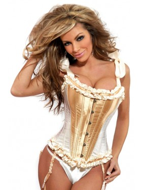 White Steel Boned Lace Up corset with g-string, garter