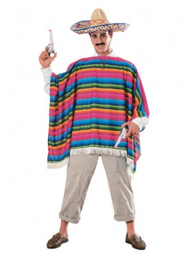 Mens Mexican Poncho Serape Adult Halloween Costume Hat