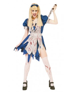 Ladies Halloween Zombie Malice in Horror Land Walking Dead Fancy Dress Costume