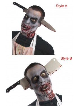 Zombie Kitchen Knife Cleaver Through Head Accessory
