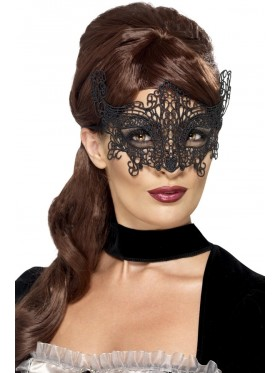 Embroidered Black Lace Filigree Eyemask Masquerade Halloween