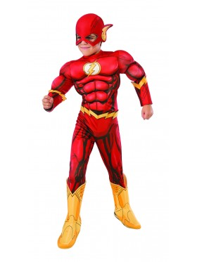 Photo Real Deluxe Muscle Chest Kids Flash Costume DC Comics Toddler Child Superhero Costume