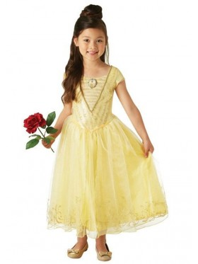 Deluxe Belle Princess Disney Live Action Girls Childs Fancy Dress Beauty & The Beast Dress Costume