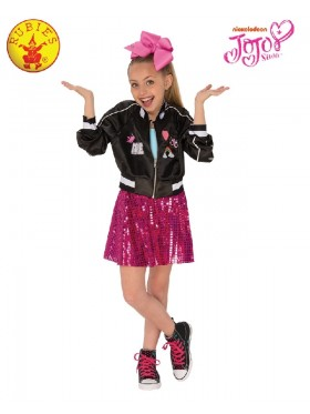 Jojo Siwa Bomber Jacket Girls Fancy Dress Celebrity Music Diva Childs Idol Kid Outfit Costumes