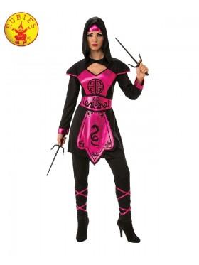 Ladies Ninja Assassin Pink Warrior Costume Womens Japanese Deadly Black Fancy Dress