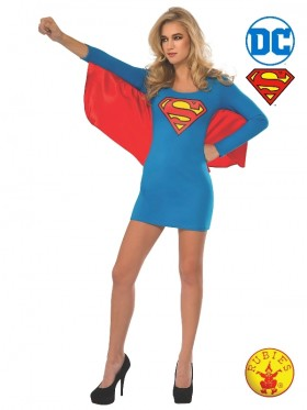 Ladies Supergirl Dress With Wings Costume