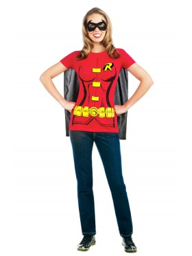 Robin Shirt, Cape & Mask Set Superhero Batman Fancy Dress Costume