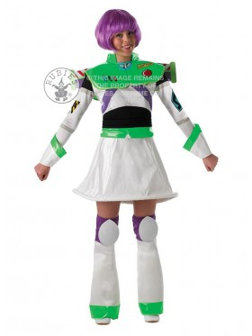 Ladies Disney Toy Story Delux Buzz Lightyear With Wig Fancy Dress Costume Outfit Book Week