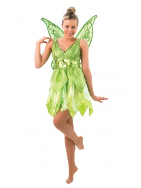 Licensed Disney Tinker bell TINKERBELL Costume + Wings Fairy Green Adult Fancy Dress Peter Pan