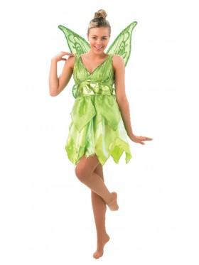 Licensed Disney Tinker bell TINKERBELL Costume + Wings Fairy Green Adult Fancy Dress Peter Pan
