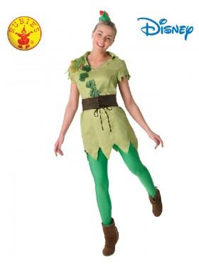 Ladies Licensed Disney PETER PAN DELUXE FEMALE COSTUME Green Story book week Fancy Dress