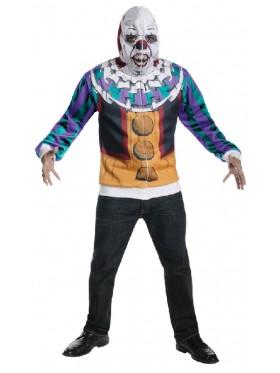 Adult Mens IT Movie Pennywise Dancing Clown Scary Halloween Hoodie Mask Horror Costume