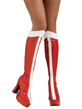 Ladies Wonder Woman Red White Superhero Red Boots Knee High Shoes Footware