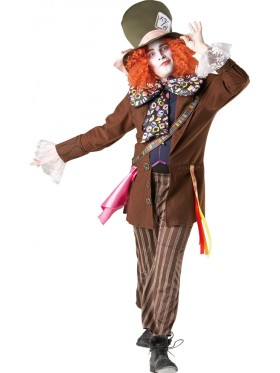 Alice In Wonderland Mad Hatter Mens Adult Fancy Dress Halloween Costume