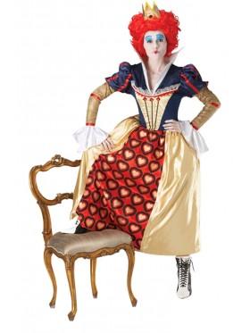 Licensed Disney Red Queen Of Hearts Crown Wig Alice in Wonderland Disney Party Fancy Dress Costume Ladies