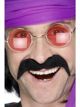 Black Seventies Tash 70s Black Handlebar Moustache Tash Mexican Cop Fancy Dress Costume Accessory
