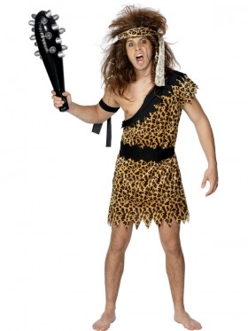 Caveman Tarzan Prehistoric Stone age Flintstones Jungle Cave Mens Fancy Dress Costume Outfit Ancient Stone Age Leopard