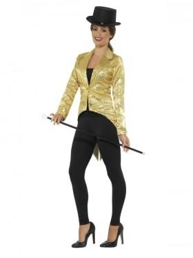 Ladies Gold Fancy Dress Tailcoat Sequin Jacket Cabaret Cabaret Outfit Showtime Waistcoat