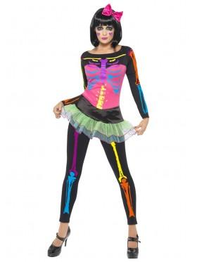 Ladies 80s Neon Skeleton Skeletons Halloween Costume Top Leggings Sugar Skull Adult Womens Fancy Dress