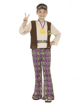 Kids Boys Hippie Costume Childs Hippy 1960s 1970s Retro Disco Kids Book Week