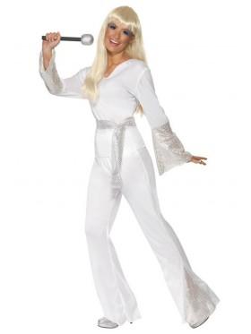 Licensed 1970s 70s 1960s 60s Pop Abba Tribute Retro Outfits Go Go Retro Hippie Girl Disco Dancing Groovy Party Halloween Costume Dancing Dream Disco Queen Costume Adult Fancy Dress