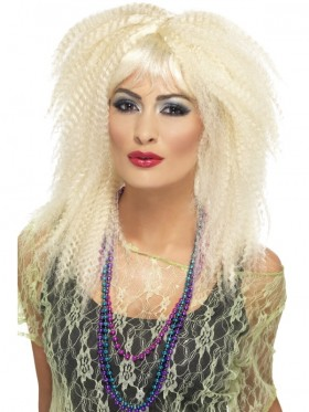 Blonde 80's Trademark Crimp Costume Wig Fringed Wild Child Rock Disco Diva