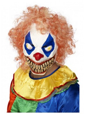 Halloween Scary Evil Full Overhead Latex Foam Clown Mask with Hair