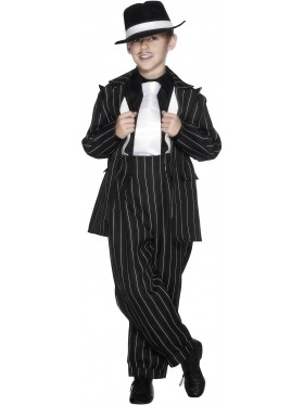 Kids Gatsby Gangster Mob Mobster Costume Zoot Suit 20s Gangsta Pinstripe