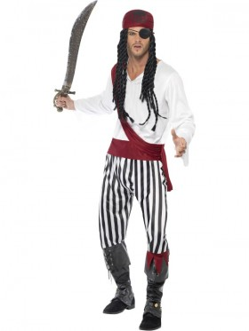 Mens Adult Carribbean Pirate Man Halloween Buccaneer Swashbuckler Fancy Dress Costume Cosplay