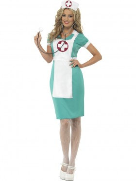 Womens Scrub Nurse Medical Doctor ER Hospital Fancy Dress Up Party Uniform Costume