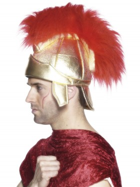 Adult Mens Roman Warrior Gladiator Soldiers Helmet Smiffys Fancy Dress Costume Accessory Hat + Crest