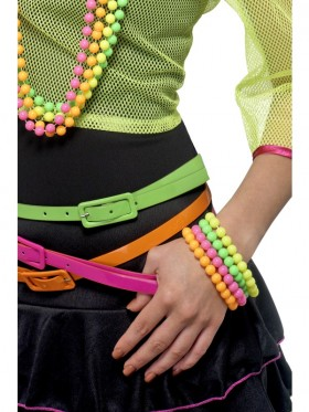 Beaded Bracelets Ladies Neon Assorted 1980s 80s Disco Fancy Dress Costume Accessory