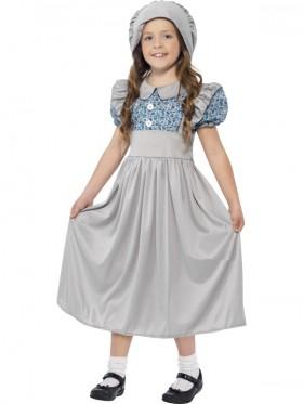 Victorian School Girl Costume Child Historical Book Week Fancy Dress Kids Outfit Olden Day School